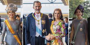 Letizia Ortiz, Felipe VI, Máxima de Holanda, Naruhito, vestido Matilde Cano, look de Letizia, reina Letizia en Japón