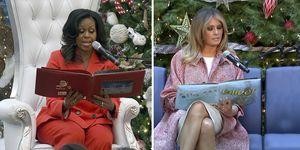 Michelle Obama, Melania Trump, navidad, primeras damas, leen cuento,