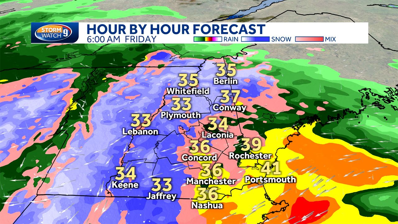 Hourly timeline Spring nor'easter to bring rain, wet snow for Thursday,  Friday