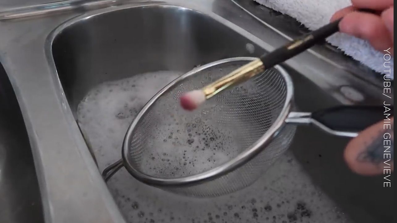 You need to try Jamie Genevieve's makeup brush cleaning hack immediately