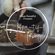 """close up of glass blowing process with """"house beautiful presents beautiful things"""" overlay"""