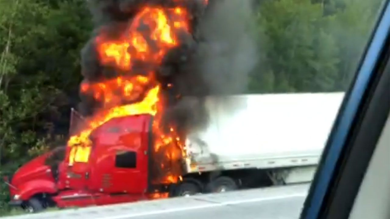 Dashcam video: Moments after fiery crash involving 2 tractor-trailers on  I-93