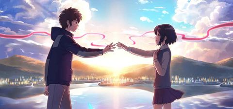 Anime, Sky, Romance, Gesture, Interaction, Happy, Love, Fun, Holding hands, Cg artwork,