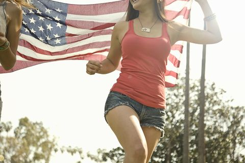 Arm, Finger, Human body, Hand, People in nature, Summer, Waist, Trunk, Chest, Flag of the united states,