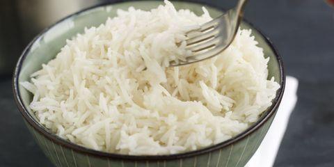 Food, Dishware, White rice, Kitchen utensil, Rice, Jasmine rice, Cutlery, Ingredient, Steamed rice, Recipe,