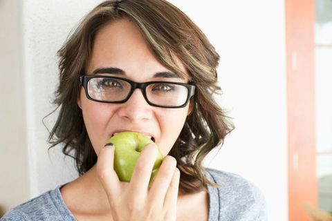Skin, Fruit, Granny smith, Produce, Natural foods, Whole food, Seedless fruit, Vegan nutrition, Flowering plant, Biting,