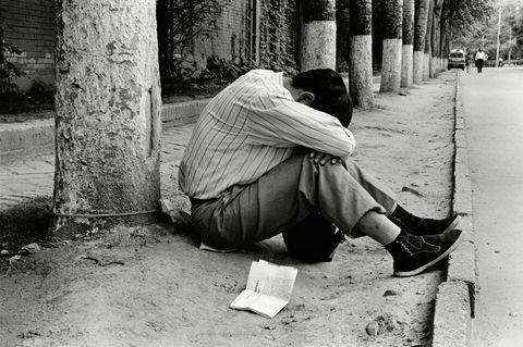 Street, Sitting, Monochrome, Tints and shades, Concrete, Trunk, Monochrome photography, Sidewalk, Black-and-white, Slipper,