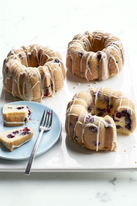 mini lemon blueberry bundt cakes- easter cakes