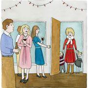 Standing, Line, Interaction, Sharing, Art, Cartoon, Conversation, Vintage clothing, Illustration, Painting,