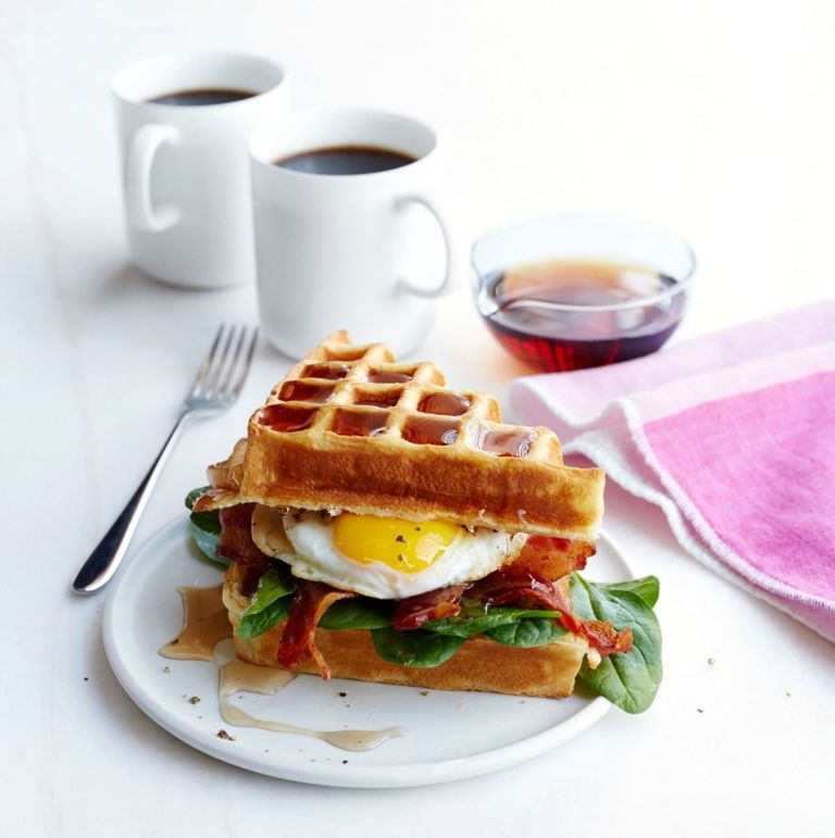 Buttermilk Waffle, Bacon and Egg Sandwich Recipe