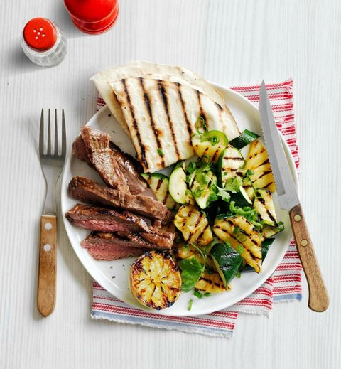 Grilled Skirt Steak with Charred Zucchini and Pineapple Salad