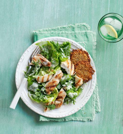 Kale and Romaine Chicken Caesar Salad