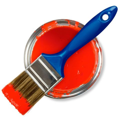 Red paint can with brush