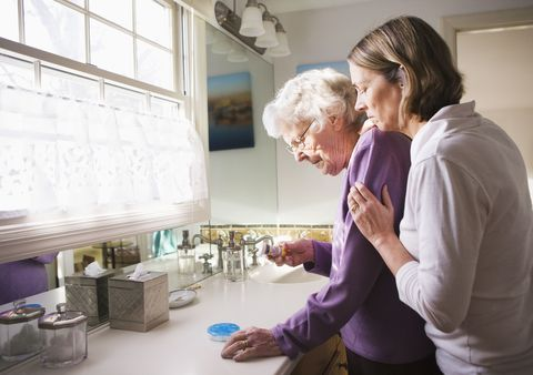 Elderly Woman with Caregiver Daughter