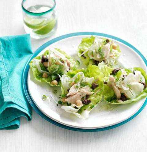 """<p>Want to make this vegetarian? Omit the tuna and double the snap peas, then add 1 cup shelled edamame and 8 oz crumbled feta cheese. Serve in lettuce leaves or toss with salad greens.</p> <p><a target=""""_blank"""" href=""""http://www.womansday.com/food-recipes/food-drinks/recipes/a50954/tuna-chickpea-lettuce-cups/""""><strong>Get the recipe.</strong></a></p>"""