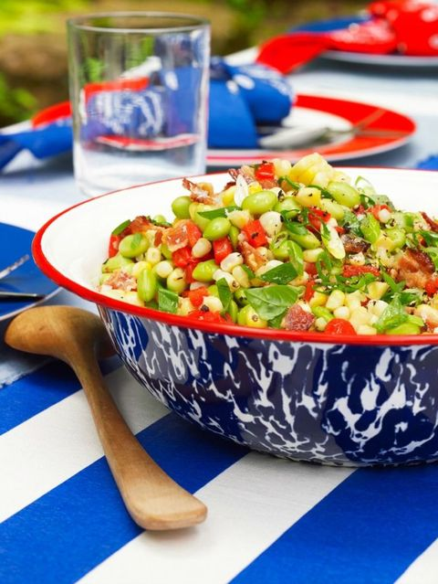 bbq side dishes   edamame and bacon succotash