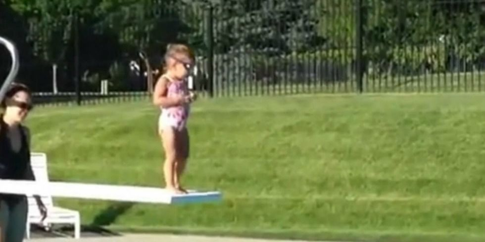 Impatient Toddler Pushes Little Girl Off Diving Board Because She Was Taking Too Long