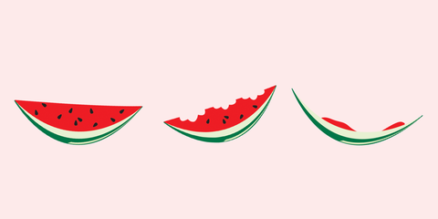 stages of eaten watermelon
