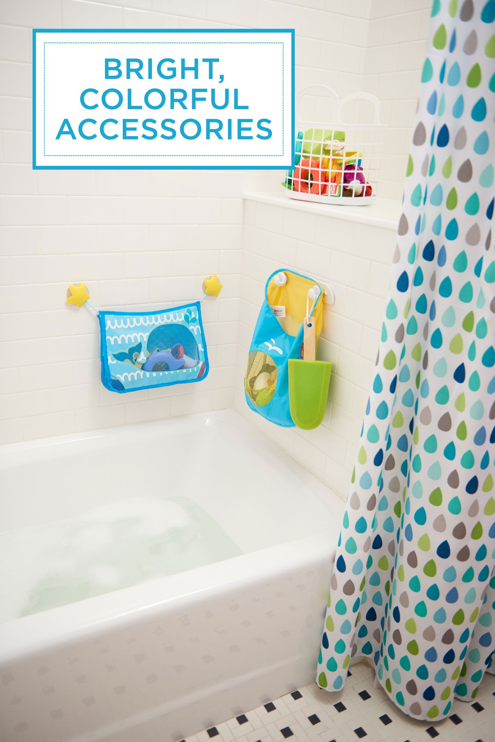 """<p>Proof in the power of accessories: A vibrant, patterned shower curtain ties together that hodgepodge of primary-hued tub toys. Why shouldn't bath time be fun? </p><p><em>Shower curtain, <a href=""""http://www.target.com/p/circo-cool-raindrops-shower-curtain/-/A-14767645#prodSlot=medium_1_1&term=raindrop+shower+curtain"""" target=""""_blank"""">Target.com</a>&#x3B; bath toy organizer and bag, <a href=""""http://www.toysrus.com/"""" target=""""_blank"""">ToysRUs.com</a></em><br></p>"""