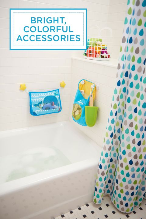 "<p>Proof in the power of accessories: A vibrant, patterned shower curtain ties together that hodgepodge of primary-hued tub toys. Why shouldn't bath time be fun? </p><p><em>Shower curtain, <a href=""http://www.target.com/p/circo-cool-raindrops-shower-curtain/-/A-14767645#prodSlot=medium_1_1&term=raindrop+shower+curtain"" target=""_blank"">Target.com</a>; bath toy organizer and bag, <a href=""http://www.toysrus.com/"" target=""_blank"">ToysRUs.com</a></em><br></p>"