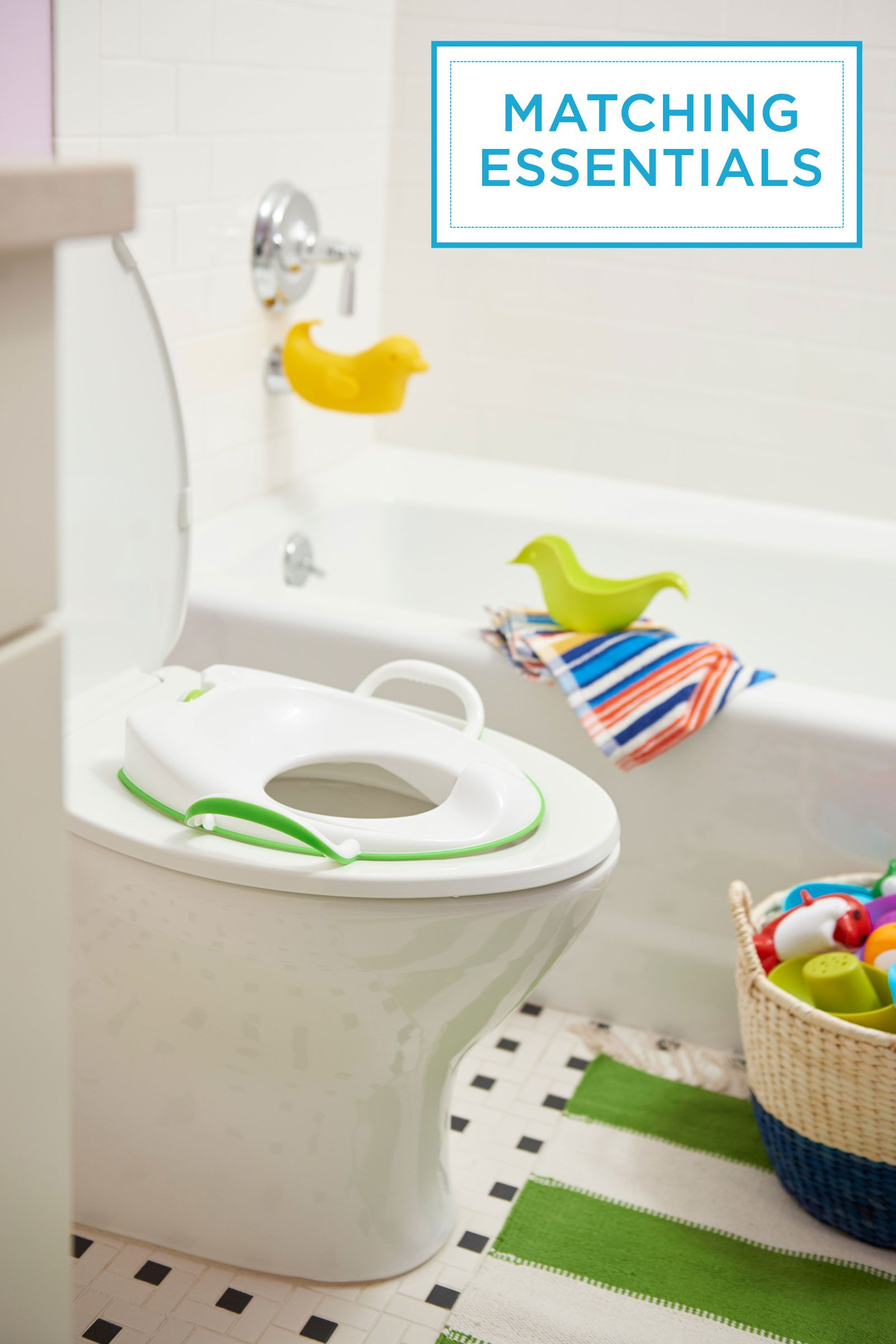 """<p>Potty training is easier when your kiddo <em>likes</em> being in the bathroom. A fun rug that matches his potty seat helps make the room his own. (Tuck a step stool beneath the vanity to give your little one access to the toilet and sink.)</p><p><em>Potty seat, <a href=""""http://www.munchkin.com/"""" target=""""_blank"""">Munchkin.com</a>&#x3B; duck spout and bath toys, <a href=""""http://www.skiphop.com/"""" target=""""_blank"""">SkipHop.com</a></em><br></p>"""