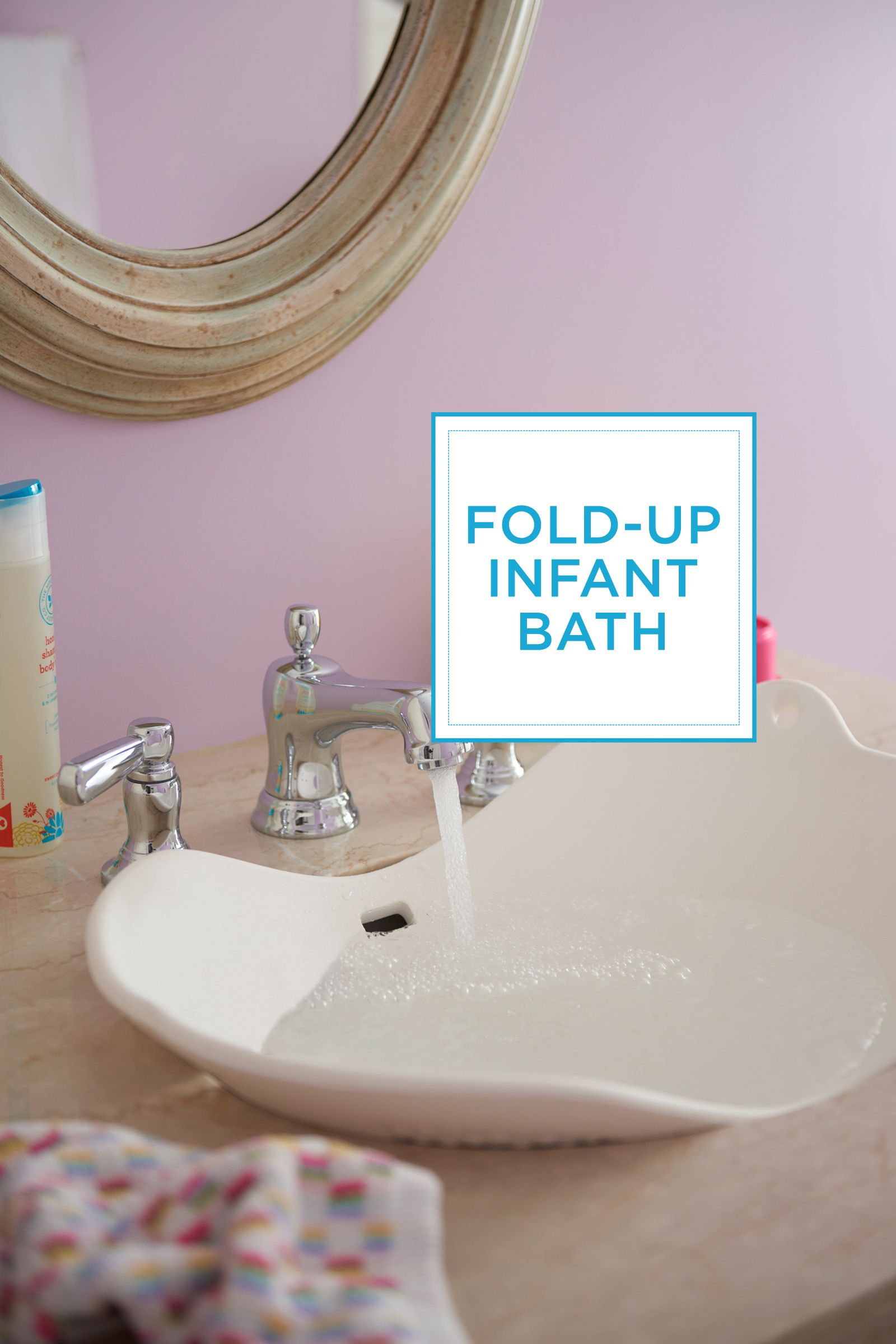 """<p>Splish, splash, baby's taking a bath! A fold-up infant tub, a super-soft washcloth, and a few colorful toys are the only signs there's a newborn on the scene of this still-serene room.<br><br><br><br><br><br><br><em></em></p><p><em>Foldable infant bath, <a href=""""http://www.toysrus.com/buy/bath-tubs/puj-flyte-5513800-15834816"""" target=""""_blank"""">ToysRUs.com</a></em><br></p>"""