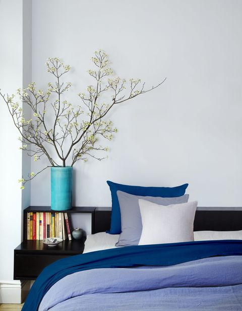 Blue, Branch, Room, Twig, Textile, Interior design, Wall, Bedding, Linens, Paint,