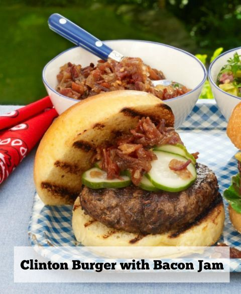 4th of july menu - clinton burger with bacon jam
