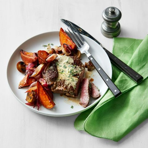 Steak with Roasted Vegetables and Mustard Pan Sauce