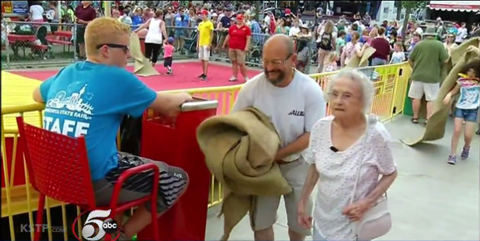 If This 96-Year-Old Cruising Down a Giant Slide Doesn't Make You