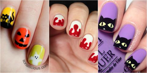 These fun nail art ideas just might show up your costume. - 26 Spooktacular Halloween Nail Art Ideas