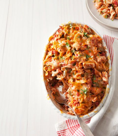 """<p>We've taken a traditional chicken casserole and added some Mexican flavors for a new and delicious take on a family favorite dish.</p><p><b>Recipe:</b> <a href=""""http://www.delish.com/recipefinder/king-ranch-chicken-noodle-casserole-recipe-ghk0314""""><b>King Ranch Chicken Noodle Casserole</b></a></p>"""