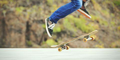 Footwear, Shoe, Jeans, Denim, Human leg, Athletic shoe, Skateboarding, Cool, Skateboard, Skateboarder,