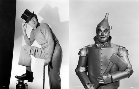 Buddy Ebsen (1908 - 2003), the dancing comic actor, whose first appearance in Hollywood was in the MGM musical 'Broadway Melody of 1936', and who appeared in the 1938 sequel. American actor Jack Haley as the Tin Man in Victor Fleming's 1939 film 'The Wizard of Oz'. The Tin Man wanted to see the Wizard so he could have a heart.