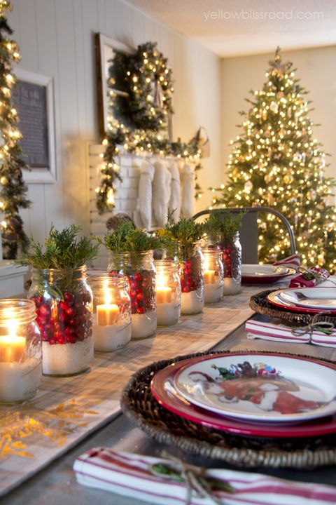 christmas table decorations white lighting - Christmas Table Decorations