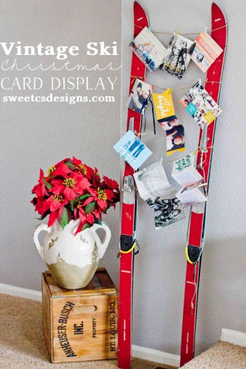 christmas card holder vintage ski card display