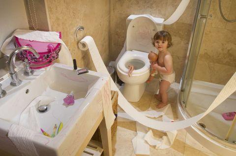 Room, Pink, Purple, Floor, Child, Toilet, Plumbing fixture, Tablecloth, Linens, Bathroom,