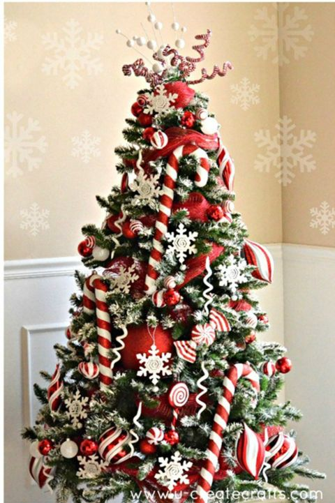 decorated christmas trees peppermint tree