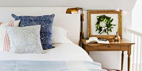 Bed, Lighting, Room, Bedding, Interior design, Textile, Bedroom, Bed sheet, Linens, Wall,