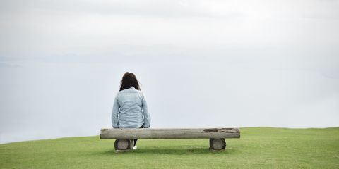 Bench, Sitting, People in nature, Comfort, Outdoor bench, Plain, Outdoor furniture, Grassland, Jacket, Street furniture,