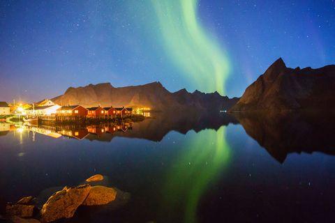 Nature, Night, Natural landscape, Reflection, Landscape, Mountain range, Aurora, Space, Mountain, Star,