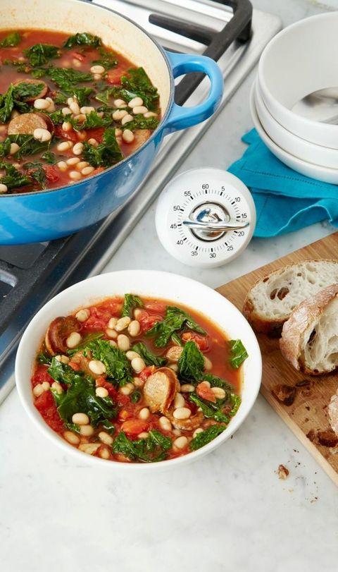 Stewed White Beans, Kale and Sausage