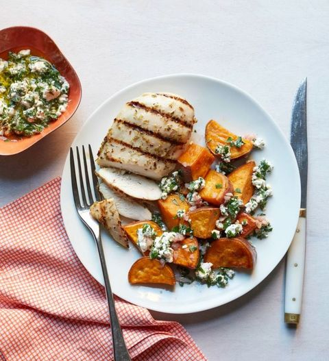 Chicken with Sweet Potatoes and Feta Salsa Verde