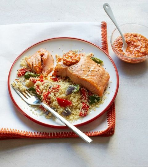 Broiled Salmon and Peppers with Romesco Sauce