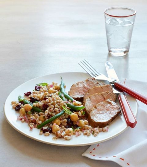 Roasted Pork with Green Bean and Farro Salad