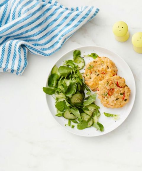 Salmon Cakes and Cucumber Salad