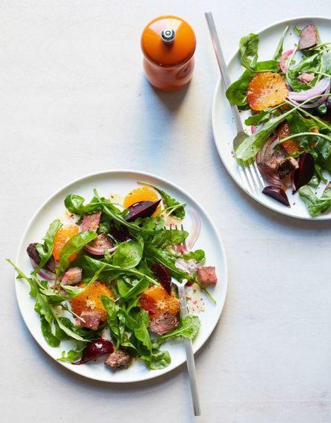 hearty salad recipes - beet, tangerine, and steak salad
