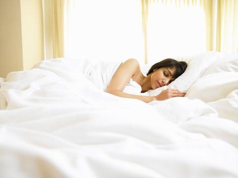 Human, Comfort, Bed, Lighting, Shoulder, Bedding, Textile, Bedroom, Room, Bed sheet,