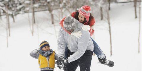 Winter, Human, Jeans, Freezing, People in nature, Snow, Glove, Playing in the snow, Love, Knit cap,
