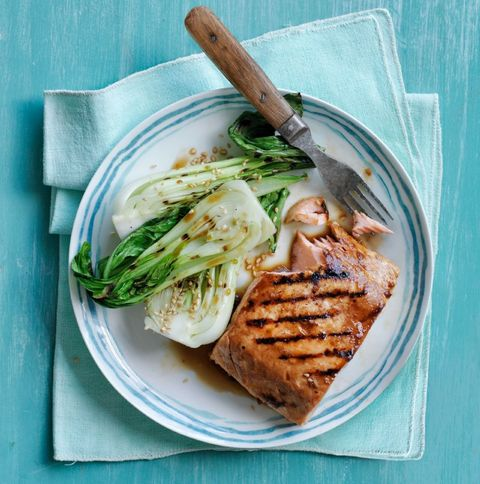 "<p>This dish is super good <em>and</em> good for you! Bok choy has vitamin K, which helps your body use bone-building calcium.</p> <p><a target=""_blank"" href=""http://www.womansday.com/food-recipes/food-drinks/recipes/a50956/soy-glazed-salmon-bok-choy/""><strong>Get the recipe.</strong></a></p>"